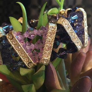 Jewelry - Swarovski Crystal Triple Stranded Purple Bracelet
